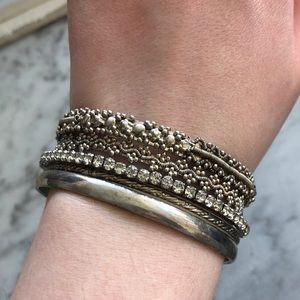 Jewelry - Assorted Silver Bangles (Group Of 5)